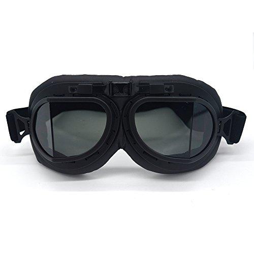SummShine Black Retro Motorrad Schutzbrille Aviator Pilot Chopper für Half Face Helm Motorradbrille...