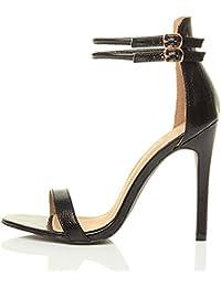 Emiki Escarpins Chaussures Femme Grande Taille Bande de Cheville Talons  Hauts Boucle Bout Ouvert Sandales ed778a724e71