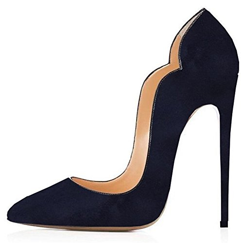 b56b5b07a2f Jushee Women s Stiletto High Heels Closed Pointed Toe Black Suede Party  Pumps.