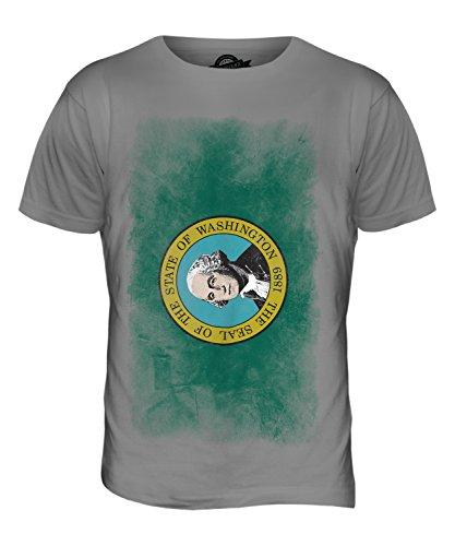 CandyMix Bundesstaat Washington Verblichen Flagge Herren T Shirt Hellgrau