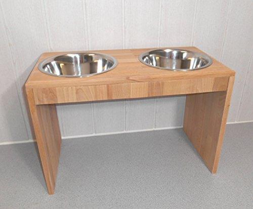 -Buche- Futternapf / Hundenapf für Ihren Vierbeiner, tolle Futterbar mit 2 Edelstahlnäpfen mit je 1500 ml. Handgefertigtes Hundezubehör und Tierbedarf. Lackierung in Klarlack! (8Sic) -