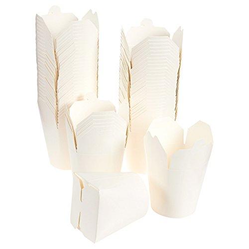 60Stück Takeout Chinesisches Essen Container–Take Out Boxen, Fold Out Boxen für Takeaway, To-Go Essen, chinesisch Party Supplies, 900ml, weiß–10,2x 11,4x 8,4cm