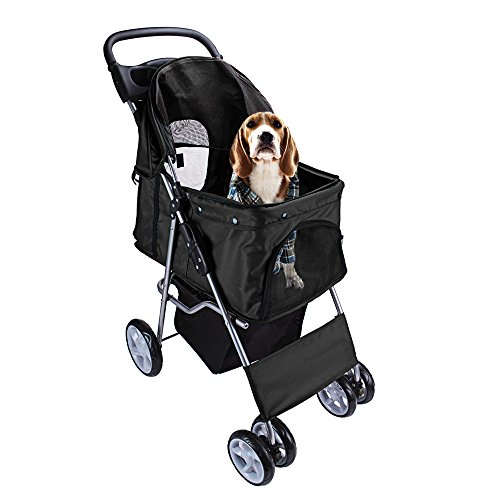 Display4top Pet Travel Stroller Dog Cat Pushchair Pram Jogger Buggy With 4 Wheels (Black)