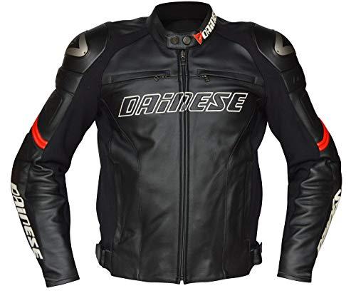 Dainese-RACING C2 Lederjacke, Schwarz/Schwarz/Rot, Größe 50