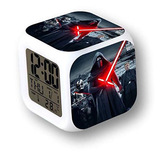 MoodiCare Reloj Digital con Alarma, Temperatura y Efectos de luz. con imágenes de Kylo Ren de Star War