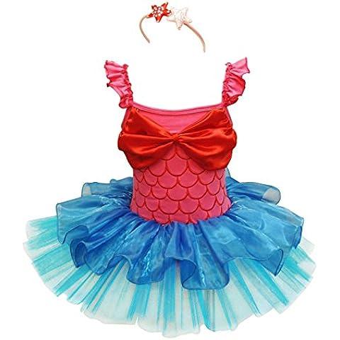 iiniim Party, diseño de chicas traje de sirena de Bailarín de ballet con tutú de Navidad con banda de sujeción Outfit