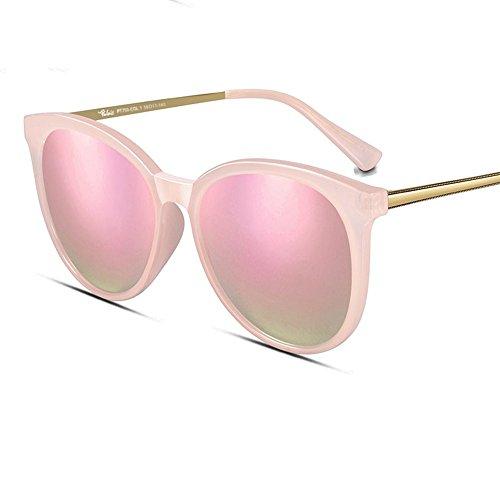 MinegRong Sonnenbrille-weibliches 2018 rundes Gesicht polarisierte Sonnenbrille-Sonnenbrille-Sonnenbrille-Frauen, rosa Rahmenkirschblüten