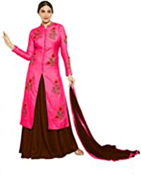 VIHA Women's Silk Dress Material (Choice_Pink_Coffee_SS_Free Size_Pink)