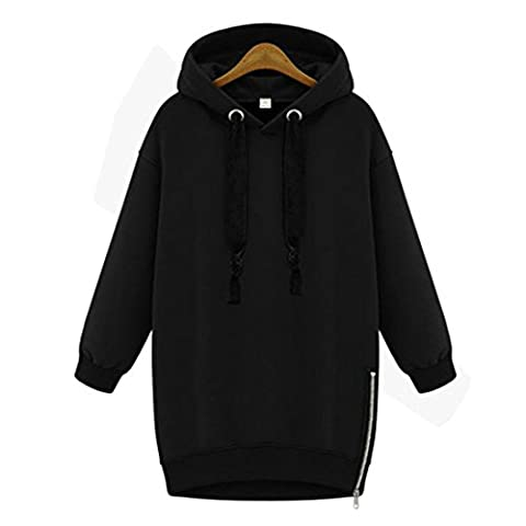 Haroty Femmes Pull Sweats à capuche Automne Hoodie Manches Longues Casual Baggy Sweat-shirts Tops (2XL, Noir)