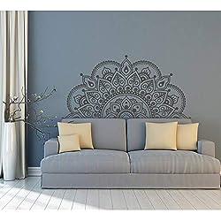 Vinilo Tatuajes de Pared Medio Mandala Mural Yoga Amante Regalo Inicio Cabecero Decoración Medio Mandala Diseño Pegatinas de Ventana de Coche 57x116cm