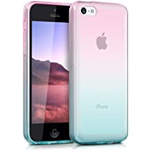 kwmobile Funda para Apple iPhone 5C - Case para móvil en TPU silicona - Cover trasero Diseño bicolor en rosa fucsia azul mate