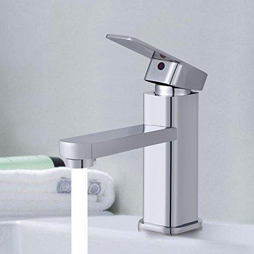 bathwa Chrome Finish Badezimmer Waschbecken Wasserfall-Wasserhahn, Messing, Armatur, Hot und Cold Single Griff Monobloc Wasserhahn