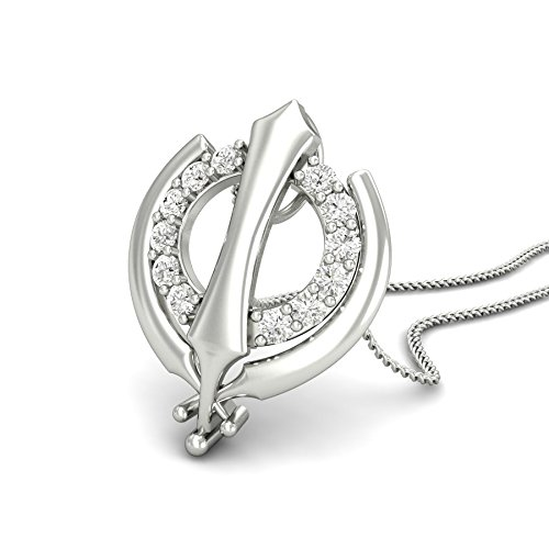 Chandrika Pearls Khanda Pendant Rhodium Plated for Men and Women