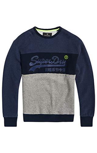 Superdry Herren Vintage Logo Panel Crew Pullover, Blau (Shadow Cast Navy Marl Vn7), Large -