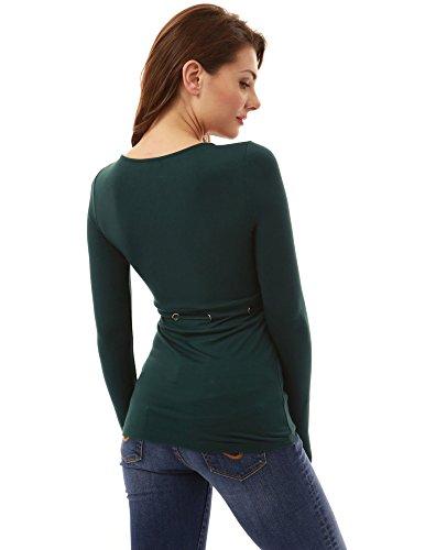 PattyBoutik Damen V-Ausschnitt Bluse mit Empire-Taille und Langen Ärmeln Dunkelgrün