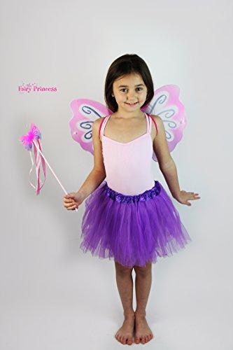 Fairy Princess Sugar Plum Fairy–Pink Lila Fee Flügel, Zauberstab, und Tüll Tutu–Kostüm Fee, Halloween, Buch Woche, Fairy ()