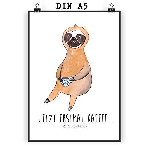 Mr. & Mrs. Panda Geschenk, Wanddeko, Poster Din A5 Faultier Kaffee mit Spruch – Farbe Weiß
