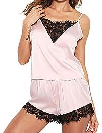 MEIbax Lencería Sexy para Mujeres Ropa de Dormir Satén Seda Babydoll Lace Up Pijamas de Noche Sin Mangas Correa Borde Top Traje de Noche Encaje Satén Atractivo Cami Top Conjuntos de Pijama