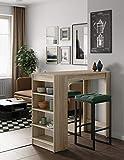 Symbiosis Table Bar avec rangements, Panneaux de Particules Melamines, Chêne, 115 x 50 x 102,7 cm