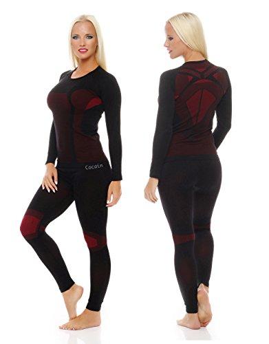 1x Set Skiunterwäsche Funktionsunterwäsche Damen Thermo-Unterhose und Thermounterhemd innen angeraut Langarm Gr. S/M schwarz/rot … - 5