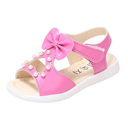 OYSOHE Kinder Sandalen, Baby Mädchen Bowknot Perle Kristall Sandalen Römischen Sandalen Prinzessin Schuhe (Wohnungen Ballerina-stil)