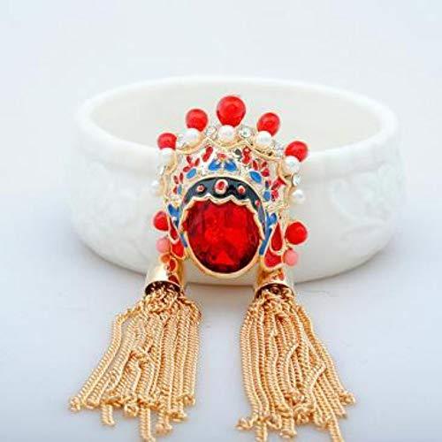 Original Schmuck Vintage Chinesischen Stil Kristall Pullover Kette Peking Opera Gesicht Blume Dandan Brosche Halskette Artikel, Rot