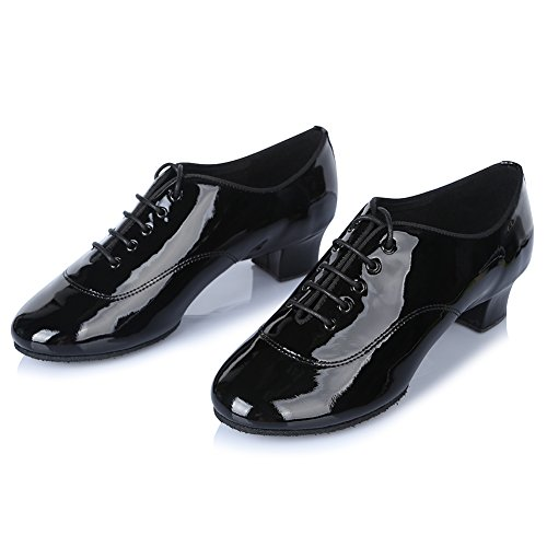 HIPPOSEUS Uomo Ballroom Scarpe da Ballo/Sala da Ballo Scarpe/Scarpe da Ballo Latino Standard di Leather,Modello-ITAF20 Nero Brillante