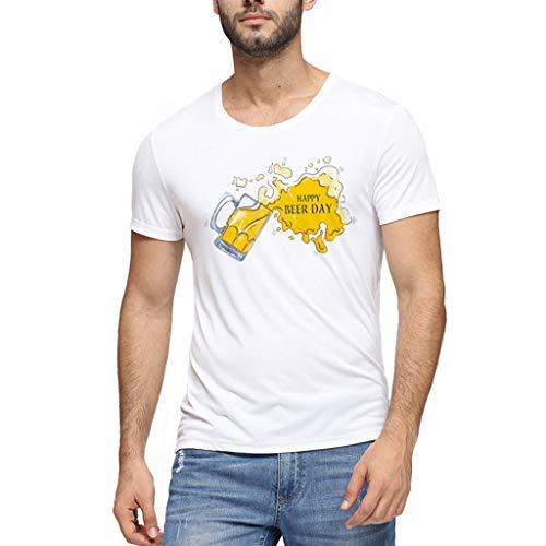 Realde Herren Oder Rundhals Kurzarm Weiß T-Shirt Happy Beer Day Loose 3D Bierdruck Oberteil Herbst und Winter Passt super auch zur Jeans Männer BequemTops Größe M-XXXL - Pit-crew Hemd