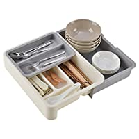 SHOW-WF Extendable Plastic Cutlery Tray with Compartments,Kitchen Drawer Dividers, Sliding 2-Tier Plastic Drawer Organizer for Utensils,Gray