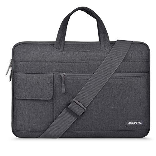 MOSISO Notebooktasche Kompatibel 13-13,3 Zoll MacBook Pro, MacBook Air, Notebook Computer, Polyester Flapover Art Laptoptasche Sleeve Hülle Umhängetasche mit Griff und Schultergurt, Space Grau Laptop Dual Tasche