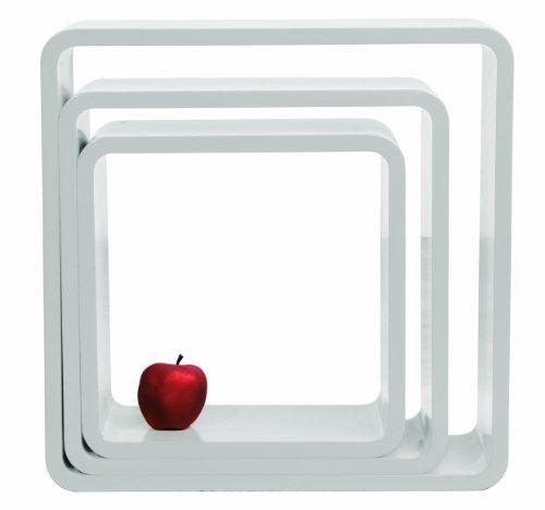 DECLIKDECO - Set de 3 étagères carrées blanc laqué Pablo