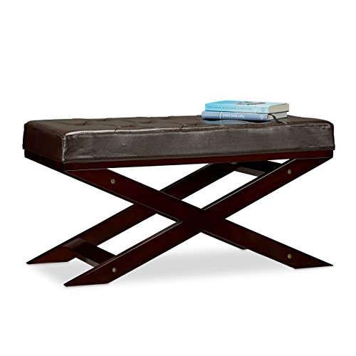 Relaxdays Sitzbank mit Polster ohne Lehne, aus Holz und Kunstleder, Zweisitzer, HxBxT 40 x 76 x 38, braun (Schlafzimmer Bänke)