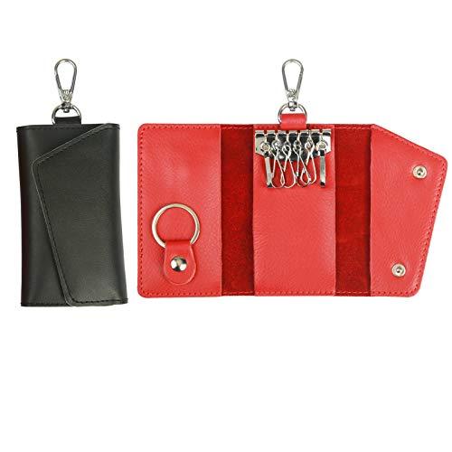 Portafoglio chiave, zerhok custodia portachiavi in pelle da 2 pacchi custodia portamonete rossa e nera con 6 ganci e 1 portachiavi per san valentino