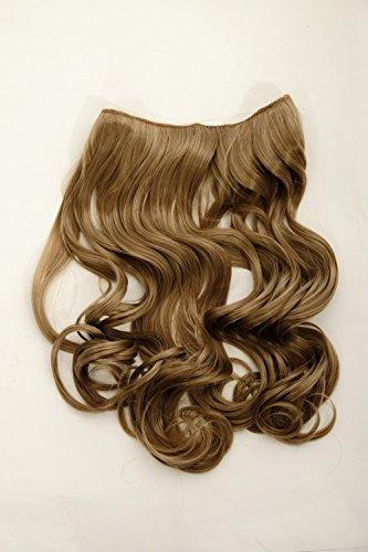 WIG ME UP - Haarteil Flip-In Extension Halbperücke breite Haarextension Haarverlängerung lockig wellig Blond Honigblond Dunkelblond 45cm L30157-15