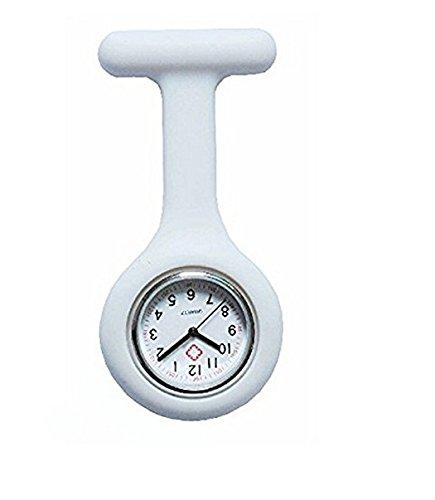 Galleria fotografica Ruiio silicone da infermiere spilla orologio al quarzo Orologio da tasca orologio da taschino, White, 8.5x4x1cm