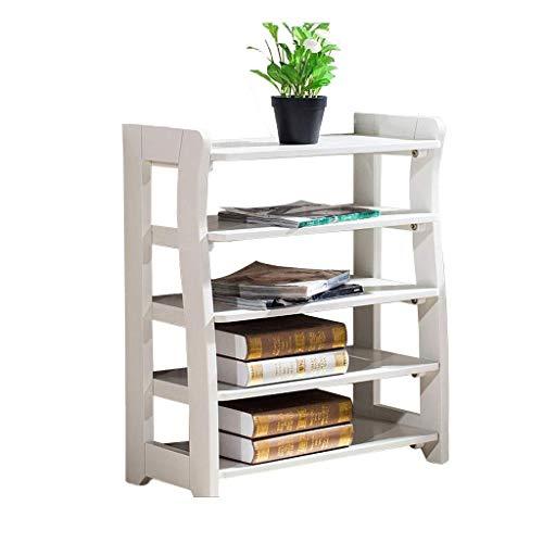 ZALIANG Hochleistungs-Mehrschicht-Schuhregal aus massivem Holz, einfaches Gerätegestell (Color : White)