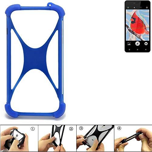 K-S-Trade Bumper für Allview V2 Viper i4G Silikon Schutz Hülle Handyhülle Silikoncase Softcase Cover Case Stoßschutz, blau (1x)