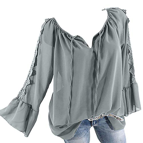 Calvin Langarm Kleid Shirt (TOPSELD Top Damen, Frauen Weg Schulter Verband Spitze Chiffon Lange ÄRmel Plus Size Leicht Tops Bluse)