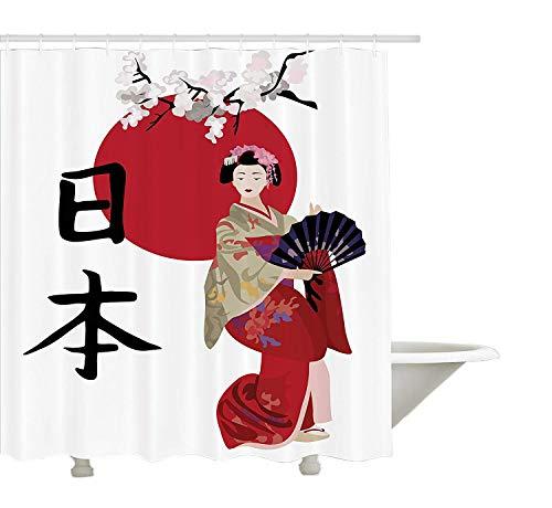 Kostüm Cherry Blossom - Japan-Duschvorhang, Illustration mit Geisha Cherry Blossoms und Kanji Letters Asian Kimono-Kostüm, Gewebe-Badezimmer-Dekor-Satz mit den Haken, Mehrfarbig