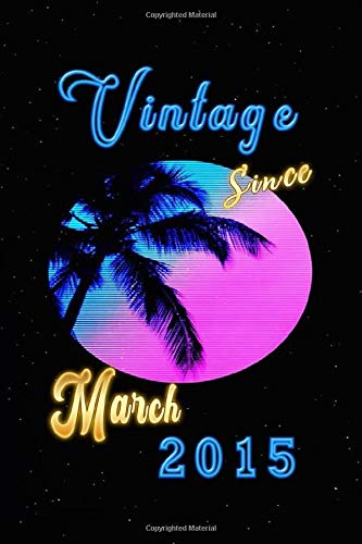 EPIC AWESOME SINCE March 2015 Custom Journal: Palms  with a Fluorescent light effect, personnalized interior: Vintage Cover, March 2015 Notebook, Personnalized interior for special  Gift