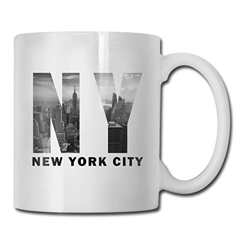 Nisdsgd New York City Cocoa Mugs Ceramic Cocoa Cups with Large C-Handle Funny Coffee Mug Cool Coffee Tea Cup 11 Ounces for Family and Friend 3.14W x 3.74H(8x9.5cm) 16 Oz Tall Iced Tea