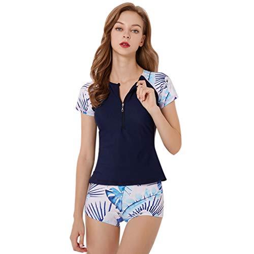 LOPILY Split Badeanzüge Damen Strandmode Sportlich Neoprenanzug Surfbekleidung Zweiteiliger Schwimmen Surfen Tauchen Sport Badeanzug Badebekleidung Plus Size(Marine,4XL)