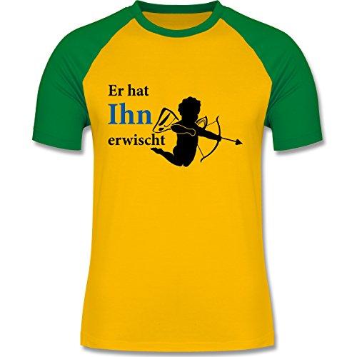 JGA Junggesellenabschied - Er hat Ihn erwischt - zweifarbiges Baseballshirt für Männer Gelb/Grün