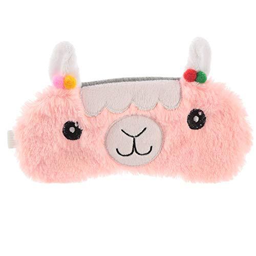 Objektkult Lama Plüsch Schlafmaske, rosa, Augenmaske, Maße: 8 x 18 cm, 100% Polyester-Plüsch, niedliche Schlafbrille für Reisen oder einen erholsamen Schlaf zu - Niedliche Kostüm Zu Hause