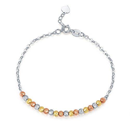 14carats en or 585de coupe diamant perles Bracelet (16,5cm) Bijoux Cadeau pour femmes filles