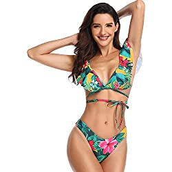 OHDREAM Bikini Push Up Relleno Tanga Flores con Volantes Playa Verano para Mujer