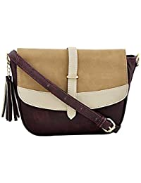 Yelloe Dark Maroon Synthetic Leather Sling Bag With Fantastic Flap Look In Multicolor.