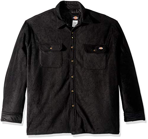 Dickies Herren Relaxed fit Micro Fleece Quilted Shirt Jacket Big Gesteppte Jacke, Knit Black, 3X Mehr Knit Sherpa Boot
