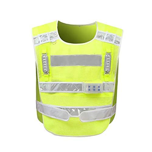 IENPAJNEPQN Wiederaufladbare LED-Warnweste Road Patrol Traffic Rote und Blaue Blinklichter Warnweste mit hoher Sichtbarkeit Hallo Vis (Color : Fluorscent Green, Size : One Size) -