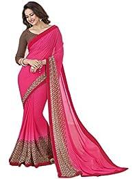 Finix Fashion Women's Chiffon Saree With Blouse Piece (Ff-A4_Pink Padding_Multi-Coloured)